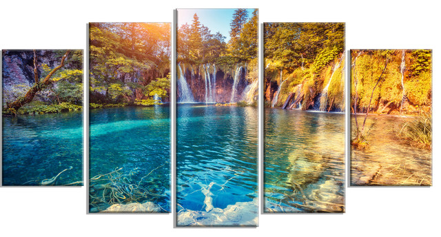 """turquoise Water And Sunny Beams"" Landscape Photo Metal Art, 5 Panels, 60""x32""."