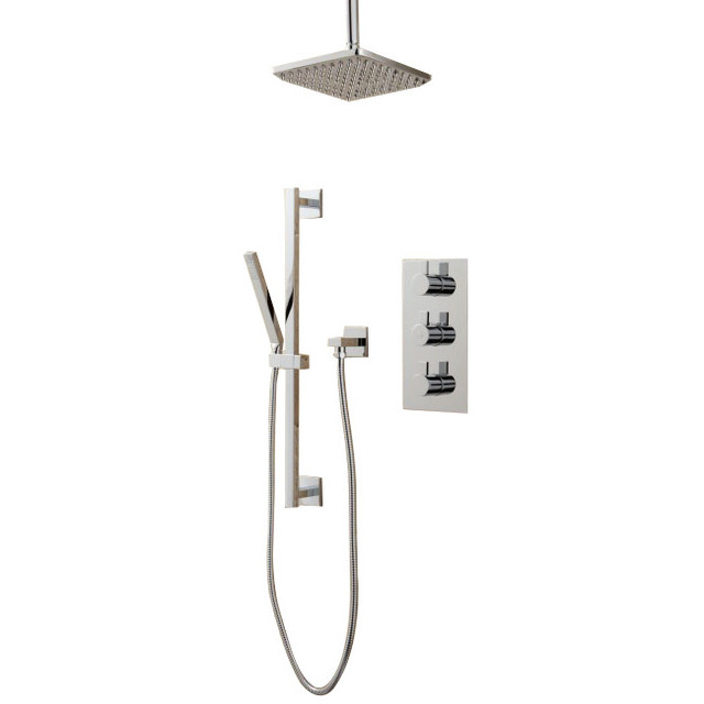 Thermostatic Shower System With Square Rain Head  contemporary showerheads and body