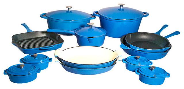 Le Chef 19 Piece All Enamel Cast Iron Cookware Set France Blue