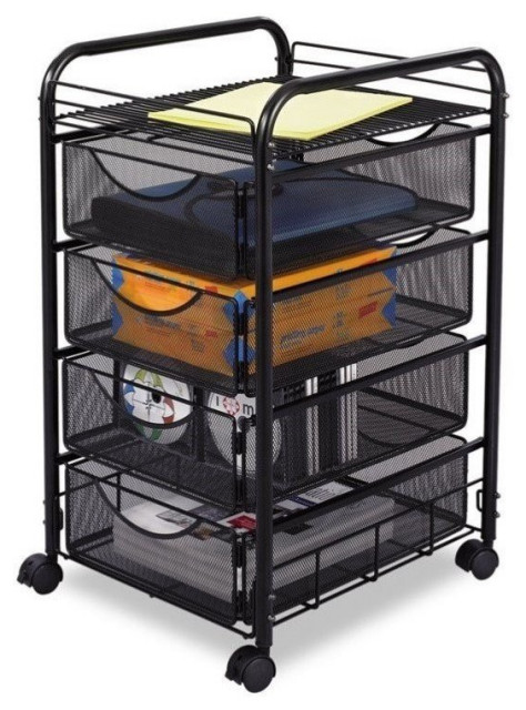 Safco Onyx Mesh File Cart with 4 Drawers in Black