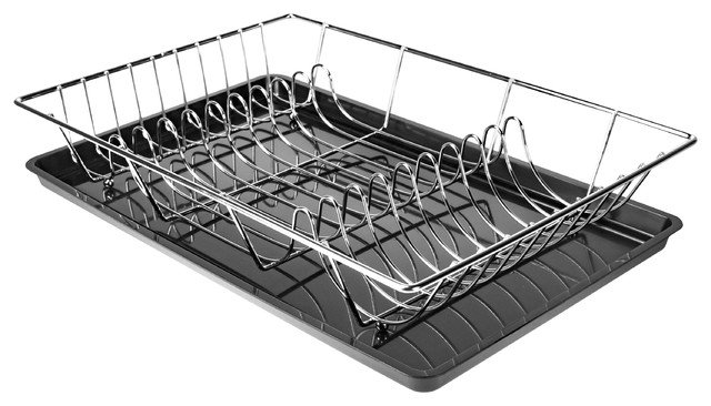 Sims Dish Drying Rack With Removable Drainboard, Chrome.