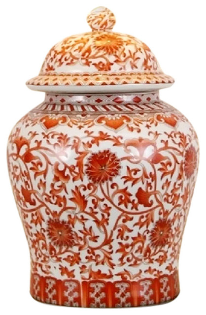 Orange Coral And White Porcelain Chinoiserie Temple Jar 13
