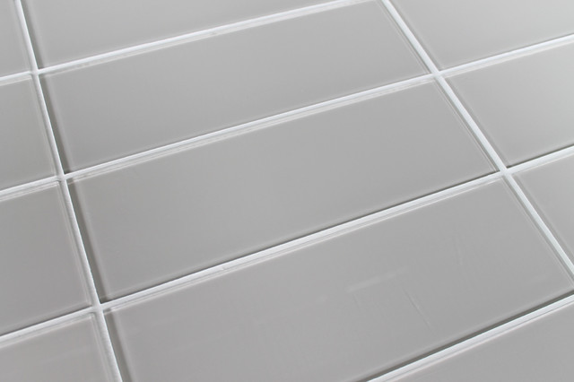"Country Cottage Light Taupe Glass Subway Tile, 4""x12"" Tiles, Set Of 3."