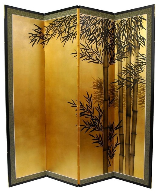 Tall Gold Leaf Bamboo Room Divider asian-screens- - 5 1/2 Ft. Tall Gold Leaf Bamboo Room Divider - Asian - Screens And