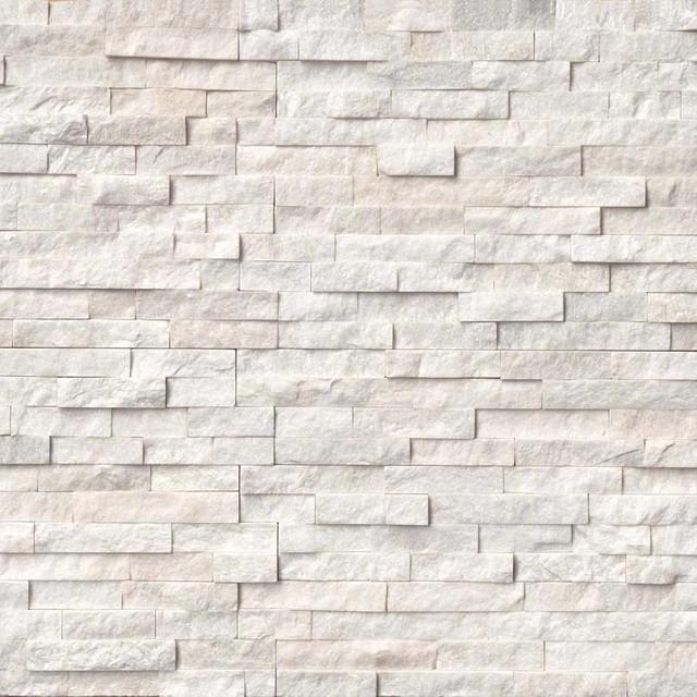 "12""x12"" Arctic White Stacked Stone Panels Panel, Set Of 60."