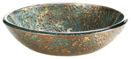 Reflex Vessel Sink, Blue And Copper Storm 18.