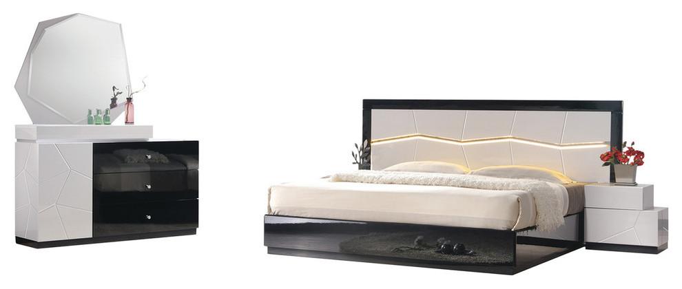 Modern White and Black Platform 5-Piece Bedroom Set, LED Light, Cal King
