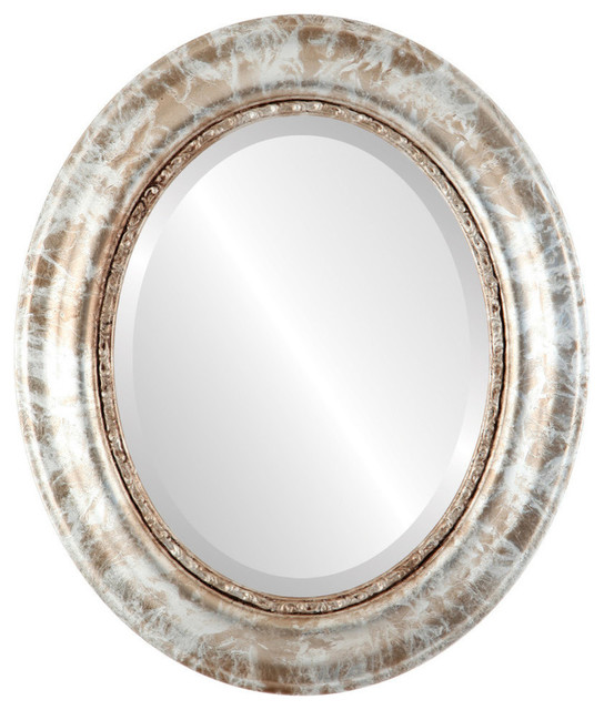 """Chicago Framed Oval Mirror In Champagne Silver, 23""""x29""""."""