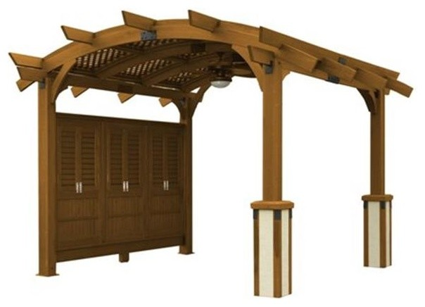 Outdoor Greatroom Company 12&x27;x16&x27; Arched Wood Pergola, Redwood Stain.