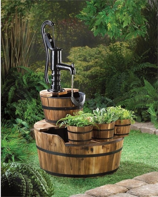 Zingz and thingz pump and barrel fountain traditional outdoor fountain and pond accessories - Water garden containers for sale ...