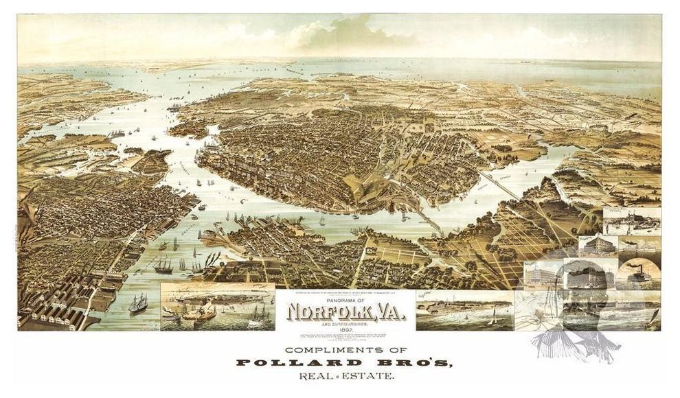 18x24 Bristol Virginia 1912 Historic Panoramic Town Map