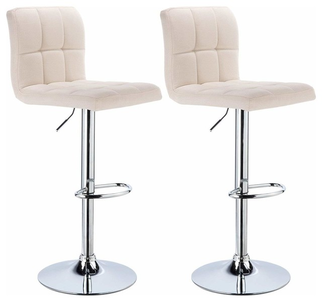 Contemporary Set of 2 Bar Stools, Linen Fabric With  Adjustable Lift, Cream
