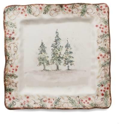 Arte Italica Christmas Natale Square Dinner Plate - ChristmasTablescapeDecor.com