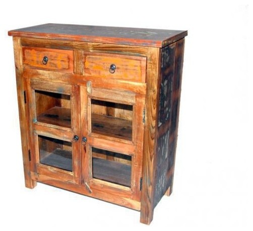 Old World Rustic 2 Drawer2 Glass Door Cabinet Accent Chests And