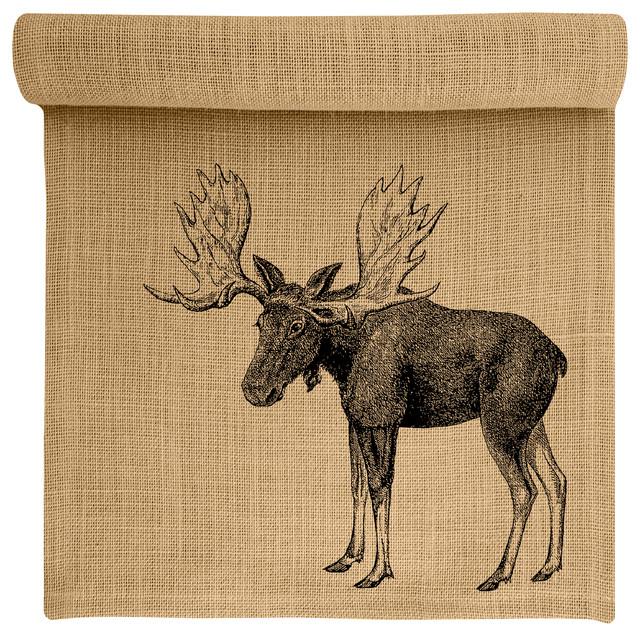 Moose Burlap Table Runner