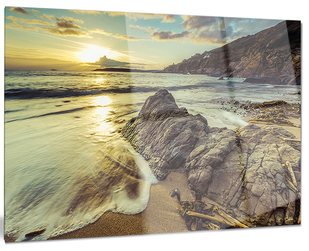 Sunset At Beach Vintage Style Metal Wall Art Beach Style Metal Wall Art By Design Art Usa