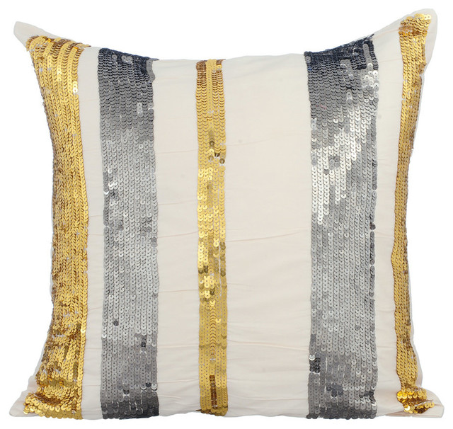 Sparkly Sequins 40x40 Silk Ivory Pillow Covers Bling String Custom Bling Decorative Pillows