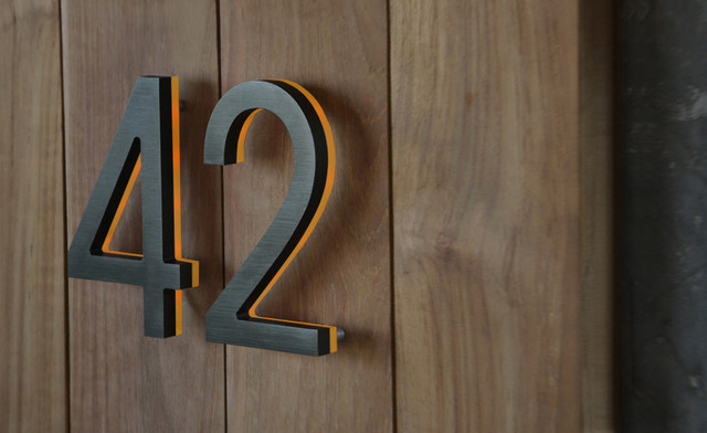 """Illuminated Bronze House Numbers 8"""" - Outdoor LED Backlit  Luxello"""