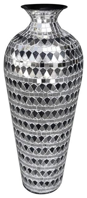 Metal Floor Vase With Gl Mosaic In