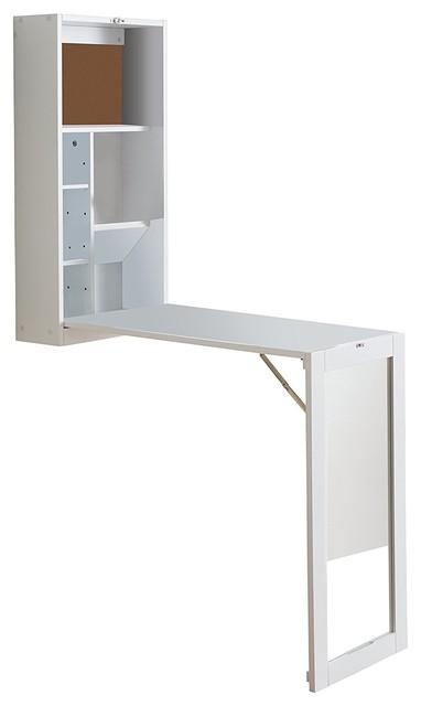 Dash Mirror Fold-Out Convertible Desk, White.
