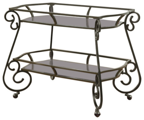 Traditional Serving Cart With Scroll Accents.