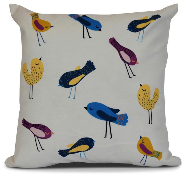 16x16 Tweets Animal Print Pillow Yellow Contemporary Decorative Pillows By E Design