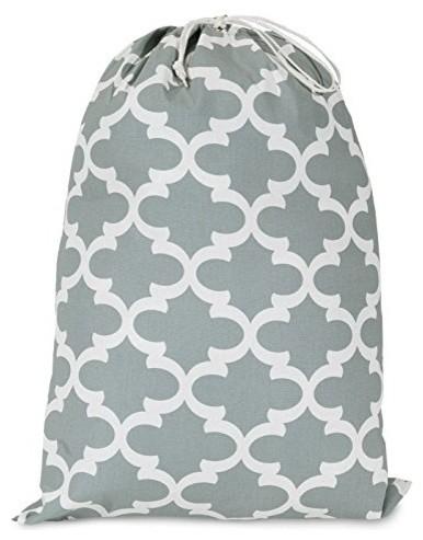 Gray Trellis Laundry Bag.