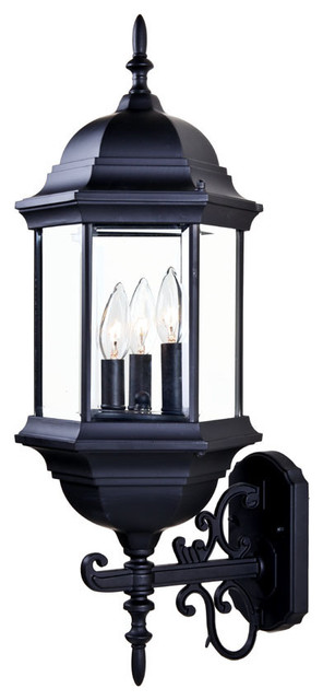 Madison Collection Wall-Mount 3-Light Outdoor Light, Matte Black.