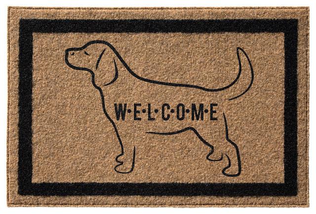 &x27;labrador Retriever Welcome&x27; Infinity Custom Doormat, Natural, 3&x27;x6&x27;.