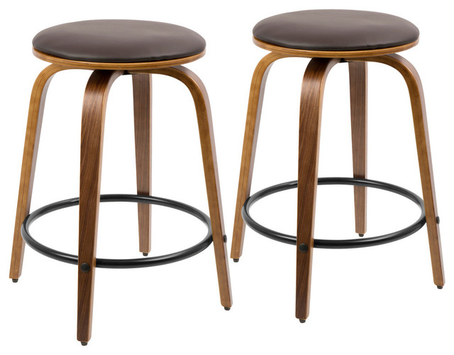 Ren Swivel Counter Stools, Set Of 2, Walnut And Brown.