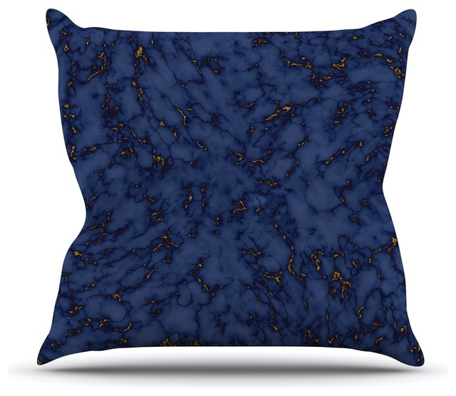 "Kess Inhouse Will Wild ""blue & Gold Marble"" Navy Abstract Throw Pillow, 18""."