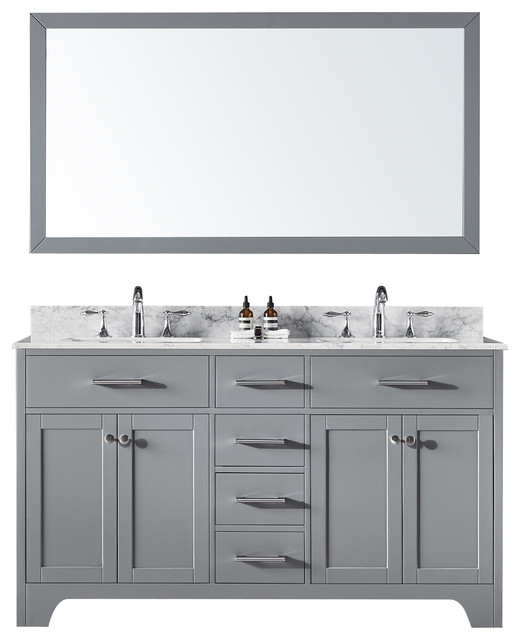 "60"" Double Bathroom Vanity, Taupe Gray With Carrara Marble Top And Mirror."