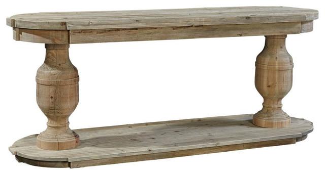 Banning Double Pedestal Console Farmhouse Console Tables