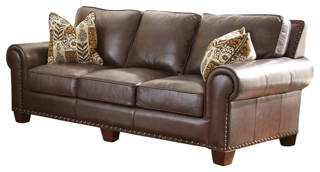 Steve Silver Escher Sofa W/2 Accent Pillows In Coffee Bean Leather