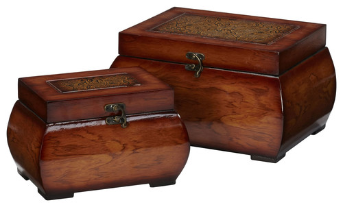 Decorative Lacquered Wood Chests, Set of 2