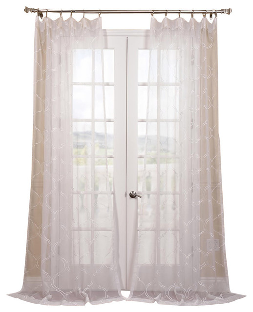 "Florentina Embroidered Sheer Curtain Single Panel, 50""x108""."