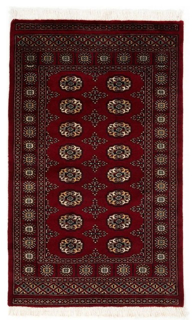traditional hand woven bokhara rug with borders red 3x5 rugs - 3x5 Rugs