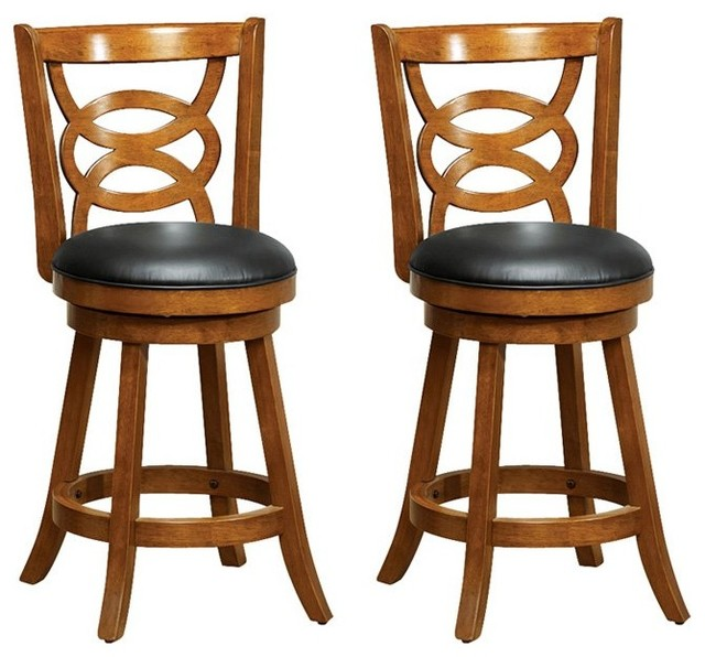 Strange Barstool 2 Piece Set 39H Swivel Oak Counter Height Pabps2019 Chair Design Images Pabps2019Com