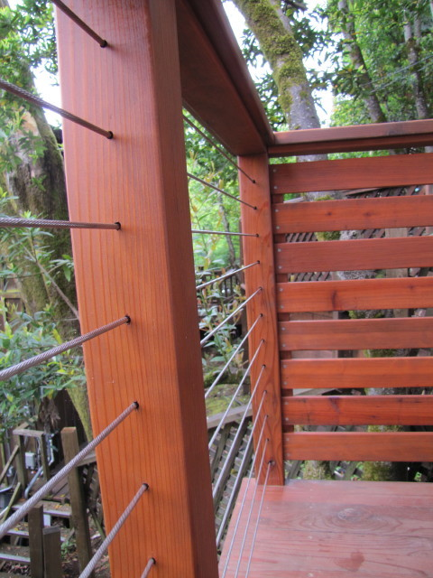 Cable rail wood post and contemporary portland