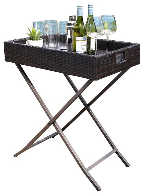 Palm Harbor Outdoor Wicker Butler Tray  Traditional Patio Furniture And Outdoor