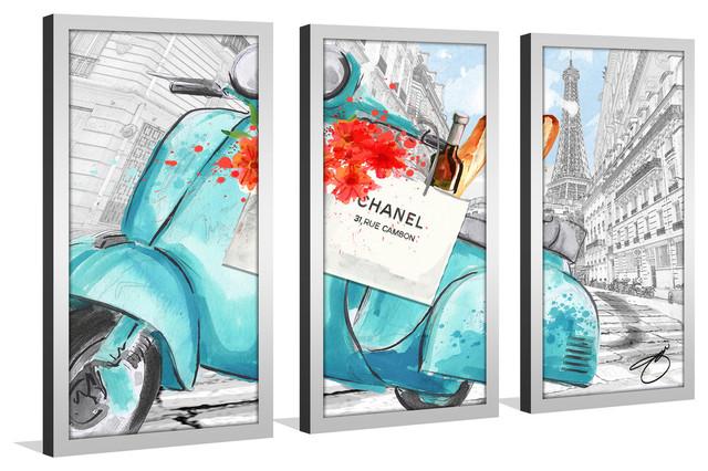 "By Jodi, ""scoot Around Paris In Blue 2"" Framed Plexiglass Wall Art, Set Of 3."