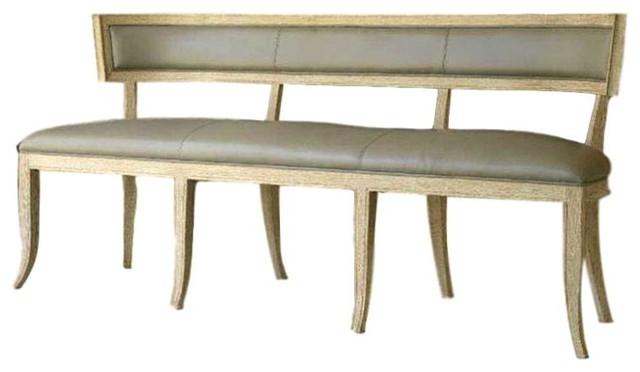 Elegant Curved Back Klismos Gray Leather Bench Modern Wood Minimalist Long