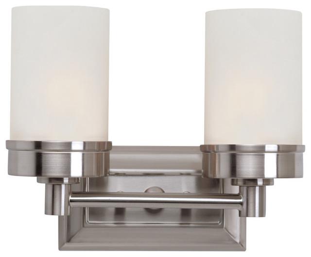 Brushed Nickel 2 Globe Vanity Bath Light Bar Interior: Trans Globe 2 Light Bath Bar In Brushed Nickel