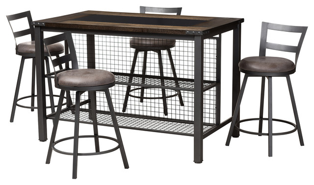 Frauke Industrial Gray Faux Leather Upholstered 5-Piece Pub Set by Baxton Studio