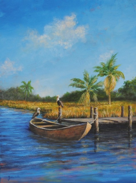 Original Tropical Landscape Painting, Caribbean art, pelicans and boat painting