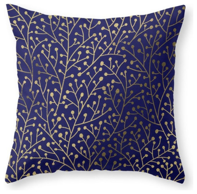 Modern Gold Pillows : Gold Berry Branches On Navy Throw Pillow - Contemporary - Decorative Pillows - by Society6