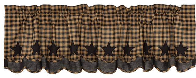 Black Primitive Kitchen Curtains Cody Black Star Valance Rod Pocket Cotton  Star