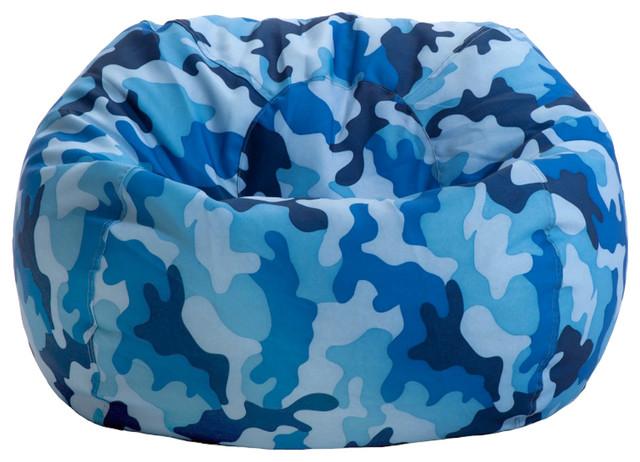 Junior Print Bean Bag, Blue Camouflage Traditional Bean Bag Chairs