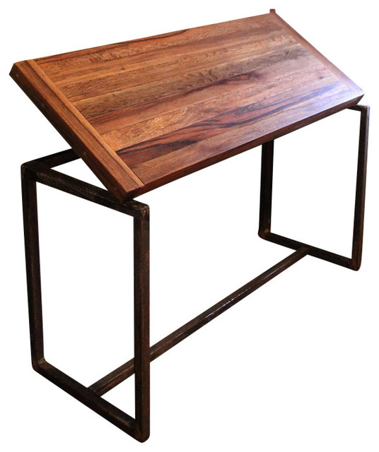 Adjule Drafting Table Reclaimed Fishtail Oak And Steel 24 X 48