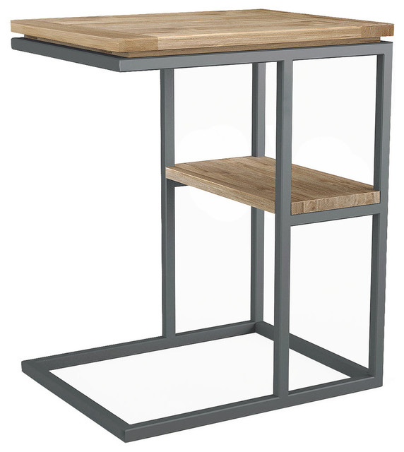 Asta Teak And Iron C Table, 2 Tier, Simplicity Rustic Side